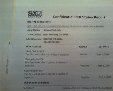 Steve Jobs AIDS Test Results