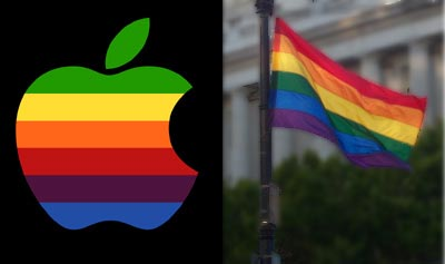 No coincidence that the apple logo is the same as the queery rainbow flag